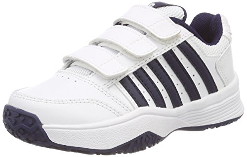 K-Swiss Performance Unisex-Kinder Court Smash Strap Omni Tennisschuhe, Weiß (White/Navy 37), 32.5 EU