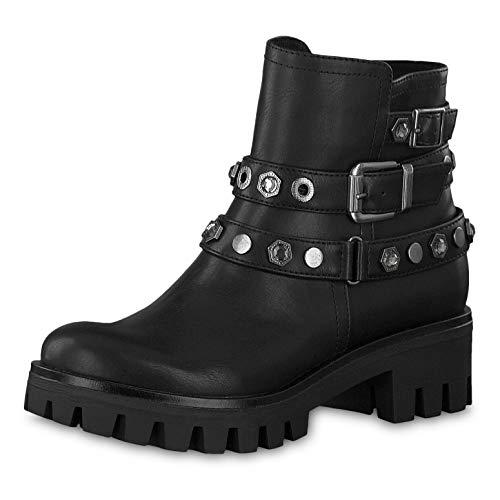 Tamaris Damen Stiefeletten 25416-23, Frauen Biker Boots, Stiefel Stiefelette halbstiefel Bikerstiefelette Bootie Nieten Damen,Black,36 EU / 3.5 UK