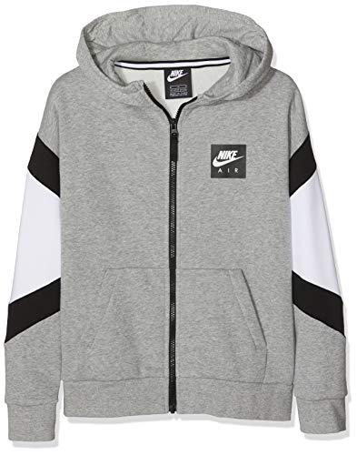 Nike Jungen B Nk Air Fz Sportkapuzenpullover Grau (Dk Grey Heather/White Black 063), 128 (Herstellergröße: Small)