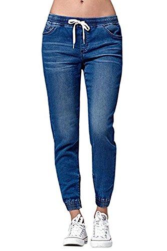 Ybenlover Damen High Waist Jeans Straight Slim Denim Stretch Lang Jeanshosen Mit Gummizug, Dunkelblau, L
