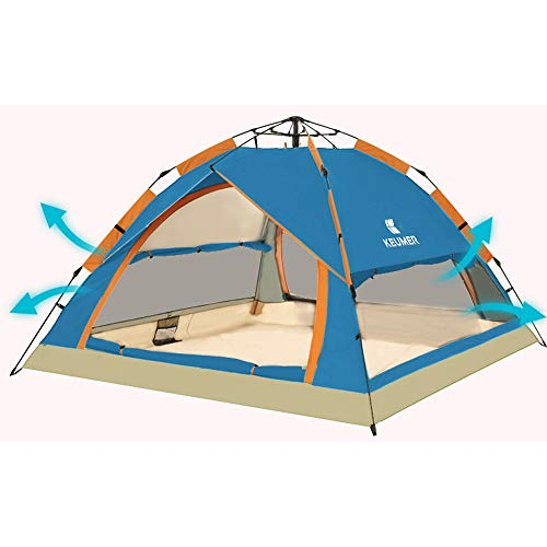 Nobrannd Camping-Zelt Out Door Camping Familie 3-4 Personen Backpacking Zelt mit Easy Setup für Outdoor Wandern (Color : Blue, Size : One Size)
