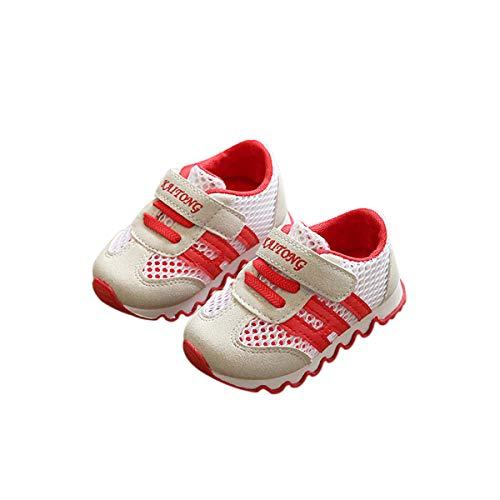 DEBAIJIA Kleinkindschuhe 0-3T Baby First-Walking Kinderschuhe Turnschuhe Weiche Sohle rutschfeste Leinwand TPR-Material-Turnschuhe 20/22 EU Rot (Etikettengröße-19)