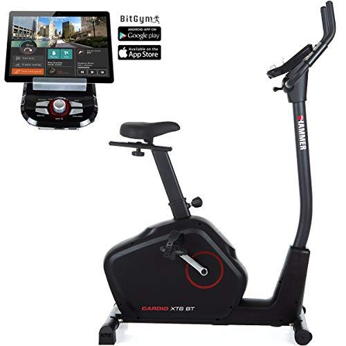 HAMMER Ergometer Cardio XT6 BT, leises Fitnessfahrrad mit tiefem Einstieg & Comfort-Sattel, 8 kg Schwungmasse, Bluetooth & App-Steuerung, 130 kg Benutzergewicht, 93 x 51 x 150 cm