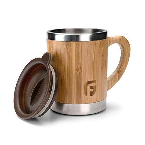 GranFore Edelstahl Tasse mit Deckel | 300ml Bambus Kaffeebecher | Öko Coffee to Go Becher | Bambus Tasse