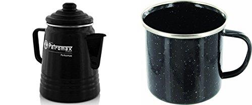 Petromax Set Tee- und Kaffeeperkolator schwarz + 4 Emaille Becher