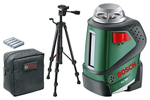 Bosch Kreuzlinienlaser PLL 360 Set (Stativ, Halterung, 4x AA-Batterien, Schutzasche, Arbeitsbereich 20 m, Messgenauigkeit ± 0,4 mm/m)