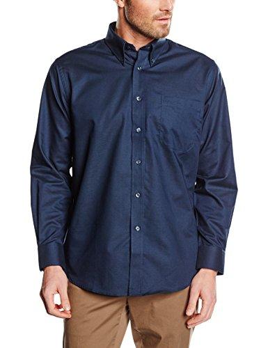 Fruit of the Loom Herren Oxford Long Sleeve Hemd, Navy, XXL