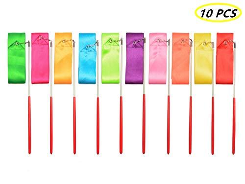 Tanzbänder,10er Packung Rhythmic Gymnastic Ribbon 2 Meter Bandstäbe für Kinder Artistic Dancing Baton Twirling (10 Farben)