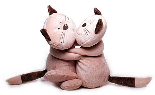 Inware 7769 - Kuscheltier Katze Mia und Pia, Katzenpärchen, 27 cm, Schmusetier, Plüschtier