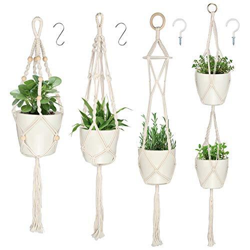 DIAOCARE 4 Stück Makramee Blumenampel,Pflanzenaufhänger-hängend Blumentopf mit Baumwollseil,Blumenhänger Pflanzhänger für Innen Außen Decken Balkone Wanddekoration(39