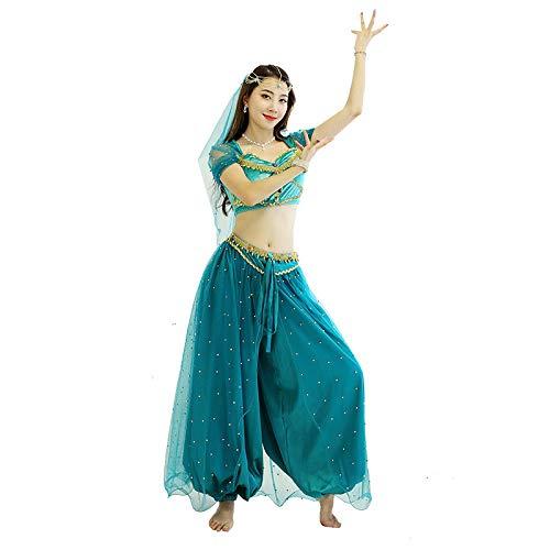 FHKL Bauchtanz Outfit Damen Aladdins Magische Lampe Kostüm Weihnachten Kostüm Erwachsene Weibliche Sinne Prinzessin Bühnenkostüm , 1 Bauchtanz Top,1 Taille Hosen , 1 Turban,Lakeblue-S