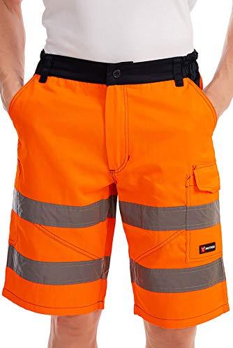 Mivaro Kurze Herren Arbeitshose Shorts mit Reflexstreifen in Signalfarben, Farbe:Orange, Größe Hosen:XXL