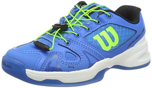 WILSON Junior Rush Pro JR QL Carpet Tennisschuhe, Blau/Weiß/Grün, 35 2/3 EU