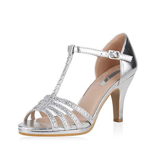SCARPE VITA Damen Pumps Sandaletten Leder-Optik Riemchensandaletten Strass Metallic Schuhe Elegante Stiletto Mid Heels 168105 Silber Silver 37