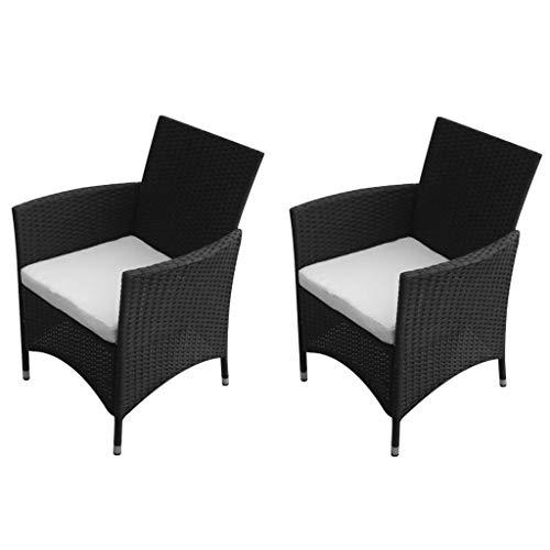 Lechnical 2 STK. Gartenstühle Poly Rattan Set Bistrostuhl Balkonstuhl Terrasse Stuhl Polyrattan klappbar Klappstuhl mit Armlehne für Garten Schwarz