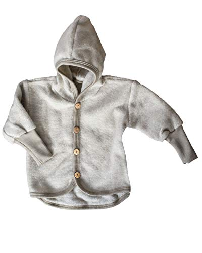 Cosilana Baby Jäckchen mit Kapuze aus weichem Wollfleece, 60% Schurwolle kbT, 40% Baumwolle (KBA)