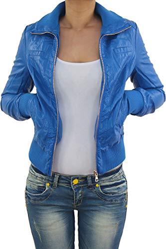 Sotala Damen Lederjacke Kunstlederjacke Leder Jacke Damenjacke Jacket Bikerjacke Blouson in vielen Farben S - 4XL Hellblau S