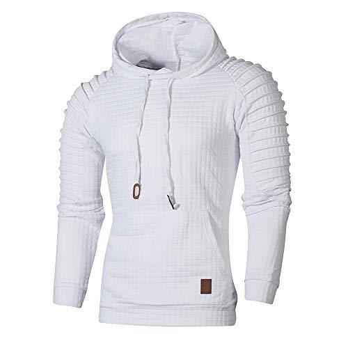 Xmiral Herren Sweatshirt Top Herbst Langarm Plaid Hoodie Mit Kapuze T-Shirt Outwear(XXL,Weiß)