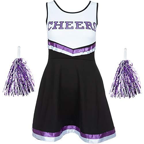 Redstar Fancy Dress - Damen Cheerleader-Kostüm - Uniform mit Pompons - Halloween, American High School - 6 Größen 34-44 - Schwarz/Lila - M