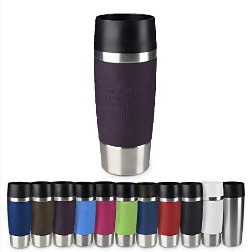 Emsa 513359 Travel Mug Thermo-/Isolierbecher, Fassungsvermögen: 360 ml, hält 4h heiß/ 8h kalt, 100% dicht, auslaufsicher, Easy Quick-Press-Verschluss, 360°-Trinköffnung, brombeer