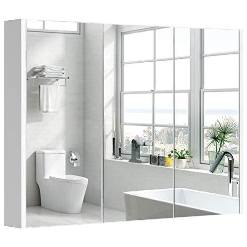 COSTWAY Spiegelschrank Badezimmer, Badezimmerspiegel mit verstellbaren Ablagen, Badezimmerspiegelschrank weiß, Wandschrank mit Spiegel, Hängeschrank 90 x 11 x 65 cm