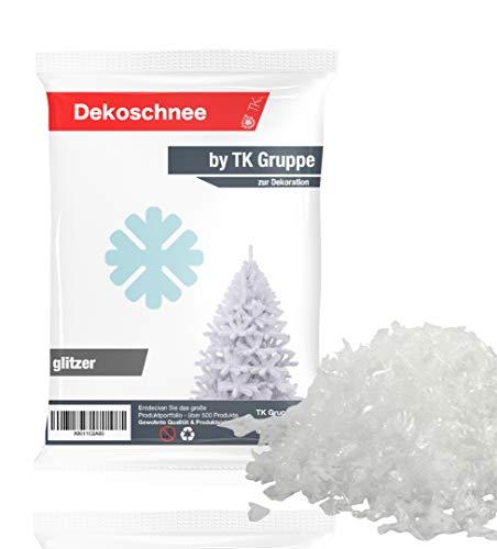 TK Gruppe Timo Klingler Kunstschnee täuschend echt & weich - 100 gr ca. 2000 ml fluffiger Schnee - glitzernder Streuschnee Dekoschnee als Deko Dekoration an Weihnachten (1x)
