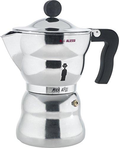 Alessi AAM33 / 6 Moka Espressomaschine aus Aluminiumguss, Griff und Kunststoffknopf, schwarz, 6 Tasse