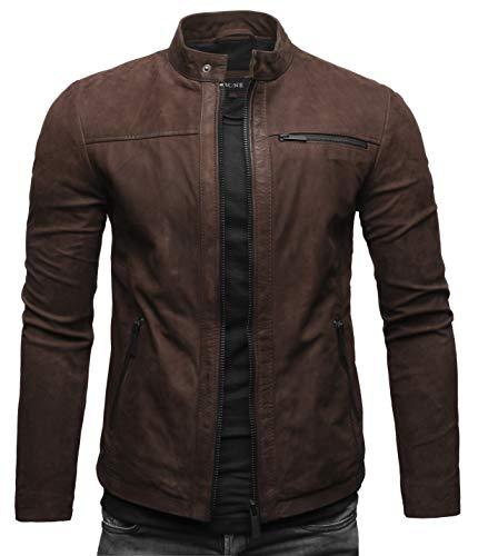 Crone Epic Herren Lederjacke Cleane Leichte Basic Jacke aus weichem Rindsleder (S, Dunkelbraun (Nubukleder))