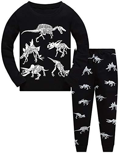 Jungen Zweiteiliger Schlafanzug Im Dunkeln leuchten Dinosaurier Langarm Pyjamas Kinder Schlafanzug Winter Nachtwäsche Weihnachten Pyjama Baby Junge Pyjama 110 (Dark Dinosaur-6243 4T)