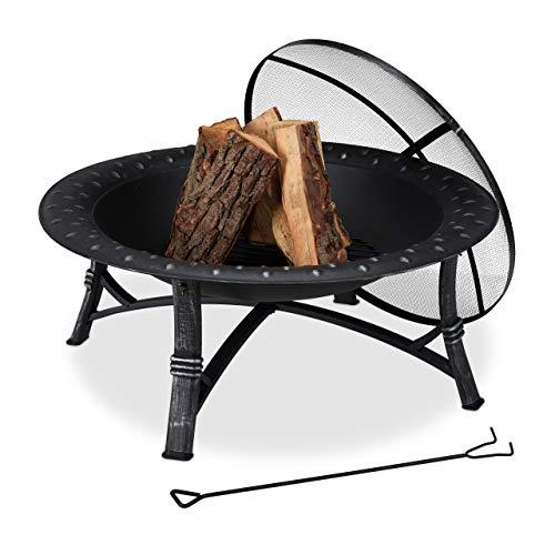 Relaxdays Feuerschale mit Funkenschutz, Garten & Terrasse, mit Schürhaken, Outdoor Feuerstelle, HxD: 52 x 90 cm, schwarz