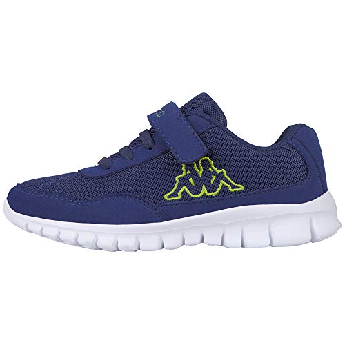 Kappa Jungen Unisex Kinder Follow Sneaker, Blue/Lime, 34 EU