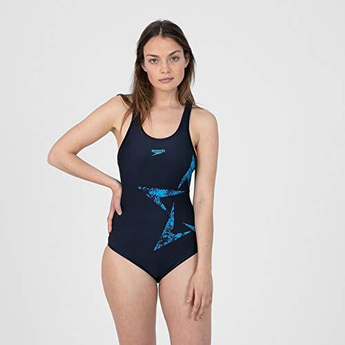 Speedo Boomstar Placement Racerback Badeanzug für Damen XL echt Marineblau/Pool