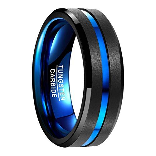 NUNCAD Ring Hochzeit, Verlobung, Partnerschaft, Freundschaft, Lifestyle und Hobby, Außenbreite 8mm bequem, schwarz+blau (galvanisiert), Größe 54