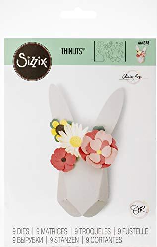 Sizzix Thinlits Stanzschablonen 9 Stk 664378 Origami Hase von Olivia Rose, Mehrfarben, Einheitsgröße