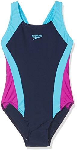Speedo Mädchen Kontrast Panel Splashback Badeanzug, Mädchen, Contrast Panel Splashback, blau (Navy/Turquoise/Diva), 26