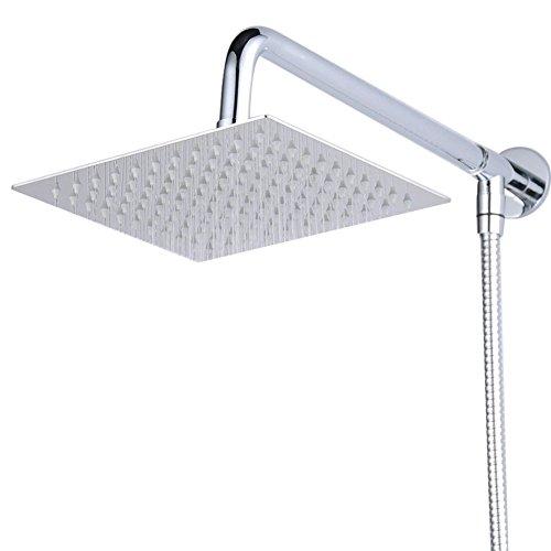 Hiendure® 40cm Quadrat Luxus Regendusche Einbauduschköpfe Edelstahl Duschkopf aus Edelstahl Spiegeleffekt Hochglänzend