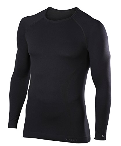 FALKE Herren, Langarmshirt Maximum Warm Long Sleeve Comfort Fit Funktionsfaser, 1 er Pack, Schwarz (Black 3000), Größe: L