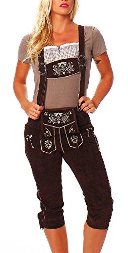 Trachten Lederhose für Damen Kniebund Hose braun mit Hosenträgern Gr 42 KNDCL