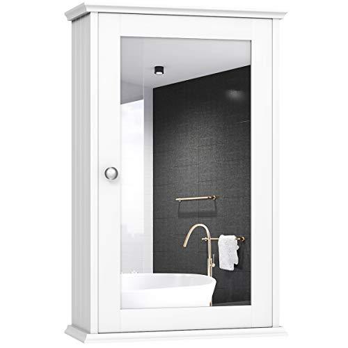 COSTWAY Spiegelschrank Badzimmer, Wandschrank mit Spiegel, Badezimmerspiegelschrank weiß, Hängeschrank Holz, Mehrzweckschrank 34x15x53cm