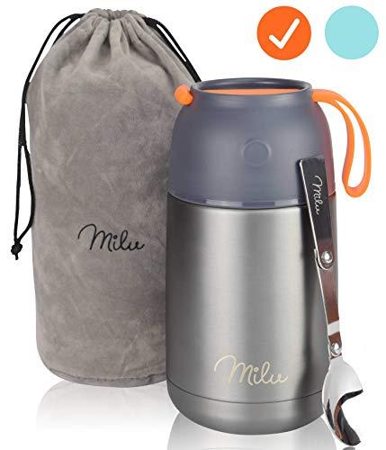 Milu® Thermobehälter 450 & 650ml | Edelstahl Warmhaltebehälter | Essensbehälter | Speisegefäß Baybnahrung | Essen warmhalten Behälter | Thermo Lunchbox | Müsli to go | 650ml