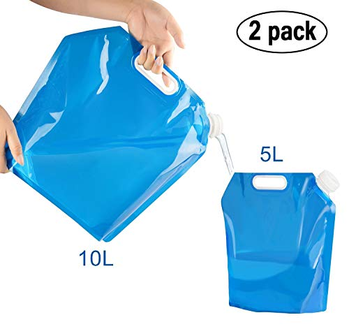 amison 2 x Wasserkanister faltbar, Tragbar Faltbarer Trinkwasser [5L + 10L] Wasserbehälter Wassertank für Wandern Camping Picknick Travel BBQ