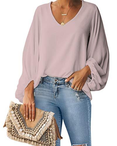 Style Dome Bluse Damen Lange Puffärmel Chiffon Langarmshirt V-Ausschnitt Elegante Oberteile Locker Tunika Tops Rosa XL