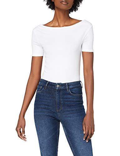 Amazon-Marke: MERAKI Damen T-Shirt mit U-Boot-Ausschnitt, Weiß (White), 36, Label: S