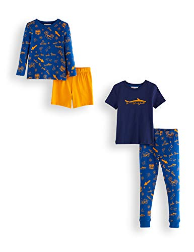 Amazon-Marke: RED WAGON Jungen Pyjama-Set aus Baumwolle, 2er-Pack, Mehrfarbig (Shark), 110, Label:5 Years