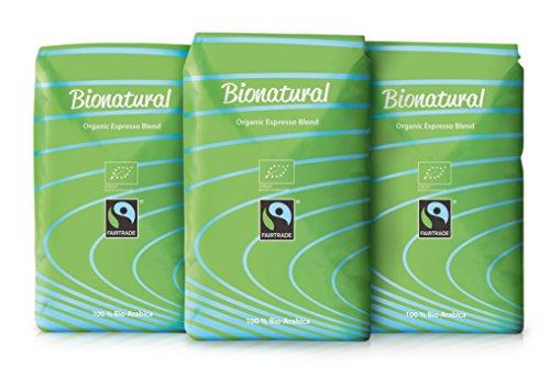 Bionatural Bio Fairtrade Kaffee-Espresso ganze Bohne by J. Hornig, 100 % Arabica, 3 x 1000 g