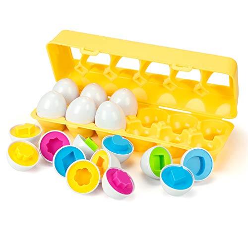 EXTSUD Ostern Eier Bunters Lernspielzeug zum Sortieren- und Zusammenbringen, Farben- und Formen Sortierspiel Pädagogisches Spielzeug Perfekt für Kinder ab 1 2 3 Jahr