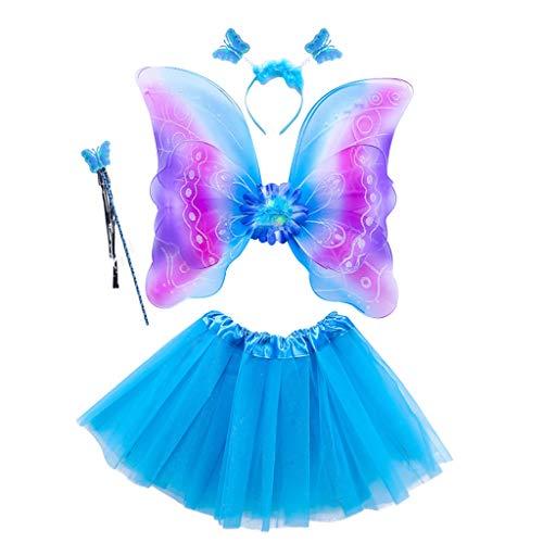 ECMQS 4 Stück Fee Kostüm Kinder, Tutu Und Flügel Set Schmetterlingsflügel Fee Prinzessin Kostüm Für Party Karneval Fasching Fastnacht Halloween Kinder Kostüm