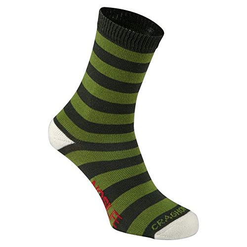 Craghoppers NosiLife Kinder Socken, 2er-Pack (35-40 EU) (Khaki/Hellgrün)