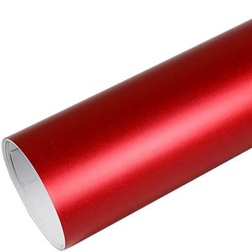 Rapid Teck® 9,86€/m² AutoFolie Serie 560MG Matt Chrom Rot 1m x 1,52m Premium Car Wrapping Folie mit Luftkanal