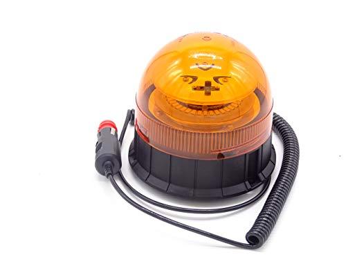 Rundumleuchte mit Magnet für Traktor, LKW oder PKW mit 12 oder 24 Volt Anschluss für Zigarettenanzünder, Blinkende gelbe Leuchte und Blinkende Notleuchte, unkaputtbar